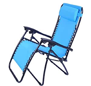 Outsunny Zero Gravity Recliner Lounge Patio Pool Chair, Light Blue