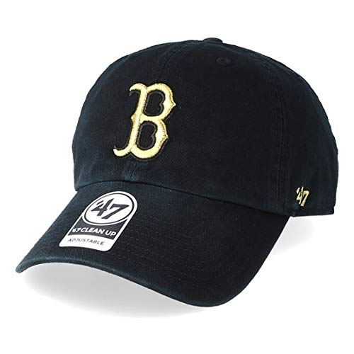 '47 Boston Red Sox Brand Metallic Clean Up Slouch Fit Dad Hat Black