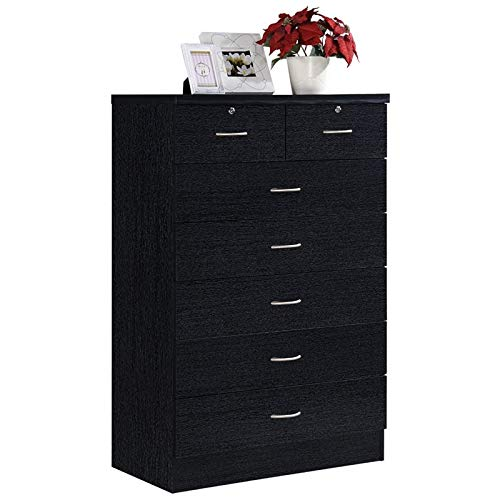 (Pemberly Row Tall 7 Drawer Chest with 2 Locking Drawers in Black)