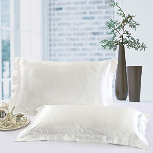 COCOSILK White Satin Pillow Shams Covers Set of 2, Queen Size Satin Pillow Cases for Curly Hair, 2 Pack Faux Mulberry Silk Pillowcases, Super Soft & Comfortable