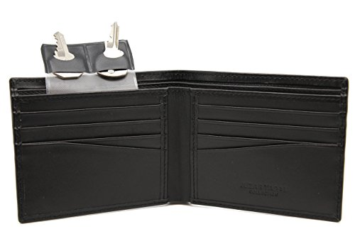 Men Minimalist Executive Black Leather Bi-fold Wallet 8 card slot Key Holder in Gift Box (Collection Leather Slimfold Wallet)