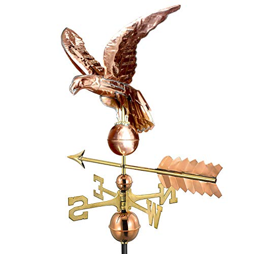 Vicreatwin Copper Eagle with Arrow Garden Weathervane Weather Vane Polished Copper with Adjustable Roof Mount 50.4X18X16 Inch