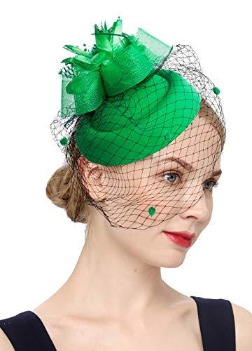(Cizoe Fascinator Hair Clip Pillbox Hat Bowler Feather Flower Veil Wedding Party Hat Tea Hat(1-Green))