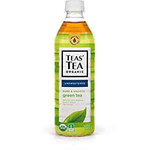 Teas' Tea Unsweetened Pure Green Tea, 16.9 Ounce (Pack of 12), Organic, Zero Calories, No Sugars, No Artificial Sweeteners, Antioxidant Rich, High in Vitamin C