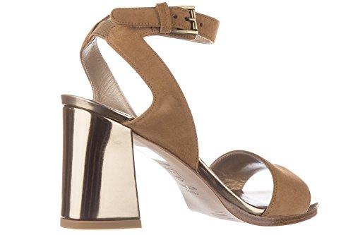 Stuart Weitzman Damen Wildleder Sandalen mit Absatz Sandaletten beige