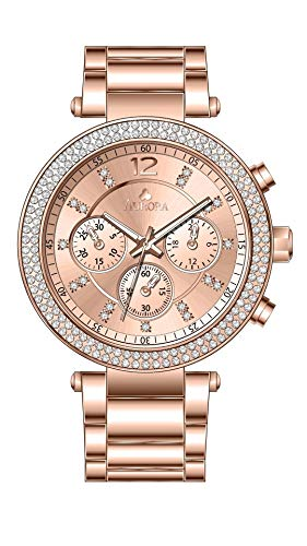 Aurora Women's Metal Casual Rose Goldtone and Stainless Steel Parker Three-Hand Glitz Watch (Rose Gold)