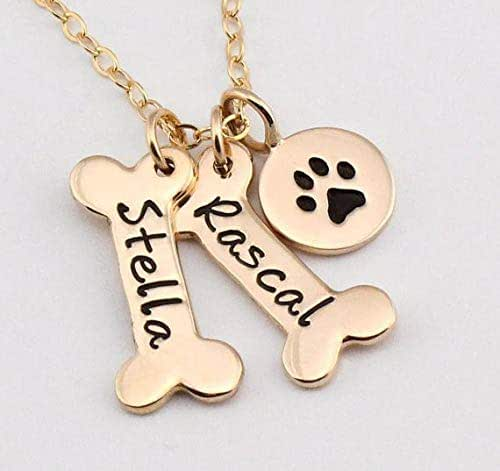 Necklace fashion - Name Necklace Dog Paw Necklace Personalized Dog Necklace Paw Print Dog Bone Initial Charm Pet Jewelry for gift YLQ0388