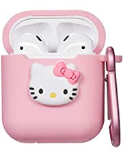 Logee Kitty Hello Cat Case for Apple Airpods Charging Case,Cute Silicone 3D Cartoon Airpod Cover,Soft Protective Accessories Kits Skin with Carabiner,Character Cases for Kids Teens Girls Guys(Airpods)