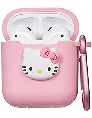 Liangxuer voor Airpods 2/1 Hoesje Case, Cute Schattig Interessant Beschermend Hoes, Mode Tekenfilm Zachte Siliconen Airpod Skin, Meisjes kinderen Tieners Hoes voor Air pods (Pink Kitty)
