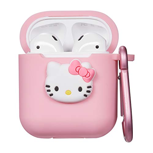 Logee Kitty Hello Cat Case for Apple Airpods Charging Case,Cute Silicone 3D Cartoon Airpod Cover,Soft Protective Accessories Kits Skin with Carabiner,Character Cases for Kids Teens Girls Guys(Airpods) (Contact Case Hello Kitty)