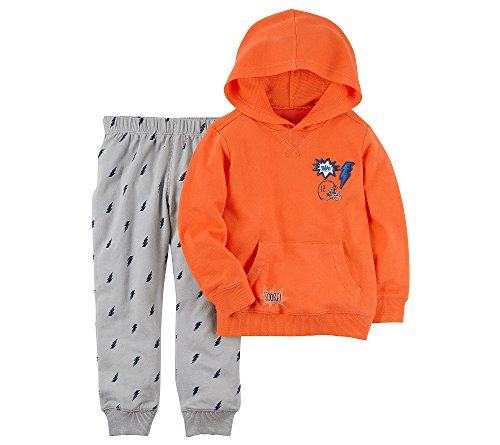 (Carter's Baby Boys' French Terry Hoodie and Lightening Bolt Joggers Set Newborn)