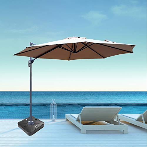 Aoxun 10FT Patio Offset Cantilever Umbrella-Large Outdoor Umbrella Set,Umbrella Base Included (Beige)