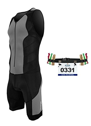 Kona II Men's Triathlon Suit - Sleeveless Speedsuit Skinsuit Trisuit with storage pocket and BONUS Race Bib Belt (Charcoal/Black, X-Large) -
