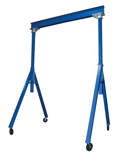 Vestil AHS-2-15-14 Steel Adjustable Height Gantry Crane, 2000 lbs Capacity, 15' Length x 6'' Height Beam, 102''-168'' Usable Height by Vestil