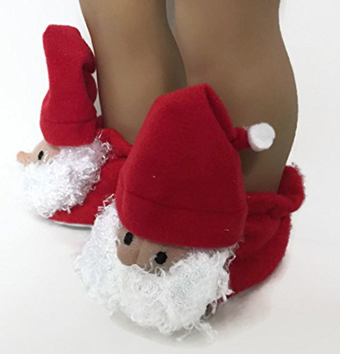 Santa Claus Slipper Shoes fit American Girl Doll and Other 18 Inch Dolls