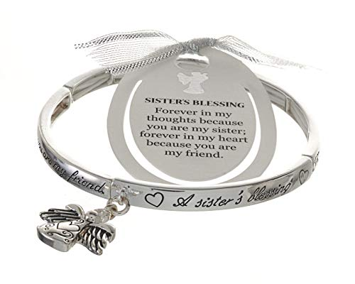 Jewelry Nexus Silver-Tone Angel Sisters Blessing Angel Charm Bracelet with Bookmark