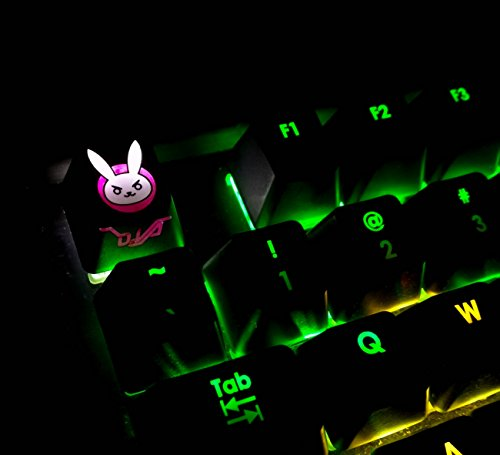 All Decor Overwatch Theme Keycaps Hand-Engraved Resin Thermal Dye Sublimation Key caps for Mechanical Keyboards (Cherry switches) with Gift Case - (DVA3) ()