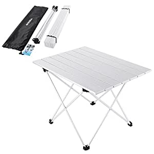 Yahill Aluminum Folding Collapsible Camping Table Roll up 3 size with Carrying Bag for Indoor and Outdoor Picnic, BBQ, Beach, Hiking, Travel, Fishing(Silver- L)