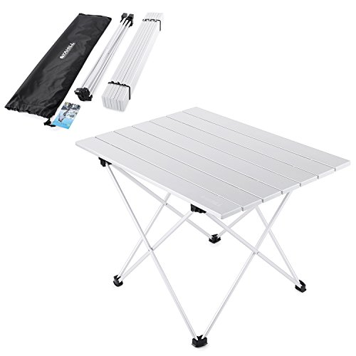 - YAHILL Aluminum Folding Collapsible Camping Table Roll up 4 Size with Carrying Bag for Indoor and Outdoor Picnic, BBQ, Beach, Hiking, Travel, Fishing(Silver- L)