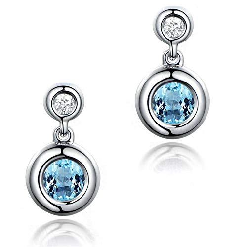 - Adisaer 925 Sterling Silver Plated Dangle Earrings For Women LW 2X5Mm Round Blue Topaz