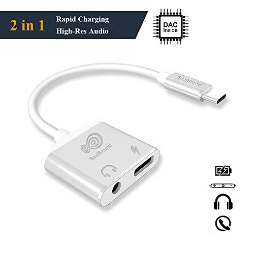 2 in 1 USB C to 3.5mm Headphone Jack Adapter with Fast Charging Compatible for Pixel 3 3XL 2 2XL, Essential Phone,Sony XZ2, Hi-Resolution and Noise Reduction Type C Adapter with DAC