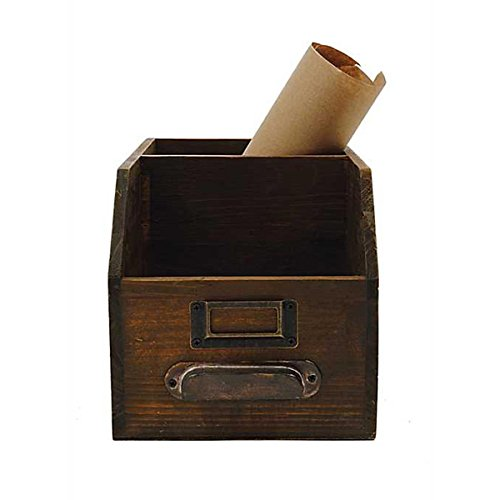 Creative Co-op 2-Section Wood Bin with Handle & Label Holder (Catalogs Cottage Decor)