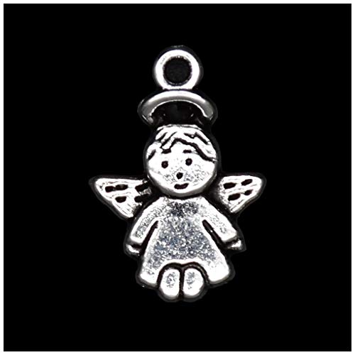 Pack of 80 Baby Angel Charms Pendants Silver Craft Supplies for Jewelry Making Tibetan Accessories for Bracelets Necklace DIY