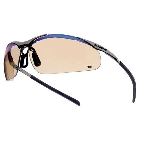 Bollé Safety 253-CM-40051 Contour Safety Eyewear with Silver Metal + TPE Semi Rimless Frame and ESP Lens, 180-Pair