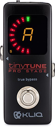 (KLIQ TinyTune Pro Stage Tuner Pedal for Guitar and Bass with True Bypass Switching, Pitch Calibration and Flat Tuning (Power Supply Required))