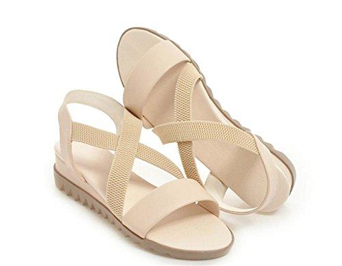 Beige 41 41 décontractées antidérapantes Confortables 2cm Sandales Femmes élastiques Pour Xie à Plat 34 Antidérapantes Fond 6qOaW