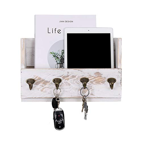 Letter Holder White Wood Distressed - Distressed Pine Wood Wall Mounted Mail,Rack Hanger, Letter and Key Holder Organizer for Entryway, Kitchen, Hallway, Foyer-Wall Mount,Office with 4 Key Hooks (Washed White)