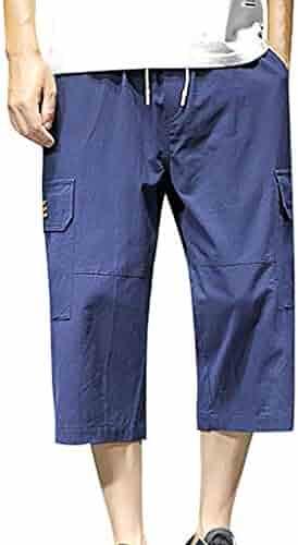 c549bf0fd450f7 F_Gotal Men's Casual Elastic Pant Calf-Length Cotton Linen Shorts Baggy  Hare Loose Jogger Pants