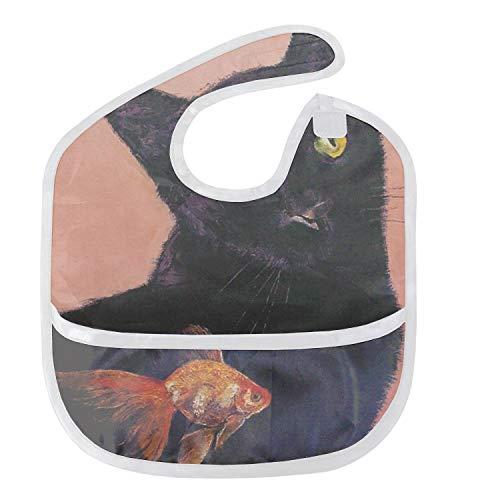 - Fish And Black Cat Baby Bibs Unisex Toddler Baby Shower Gift