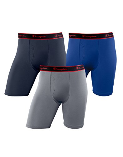 Mens Long Underwear Discount (Champion Men's Active Performance Long Boxer Brief 3 Pack,Imperial Indigo/Concrete/Surf The Web,Medium)