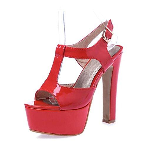 Épais Band Rouge Semelle Femme Chaussures Talon PU Bout Hauts Femmes Talons Épaisse pour InstepT Été Sandales Ouvert qwaEZx0Y