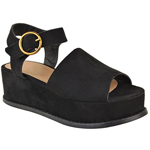 Open Sandals Black Suede Fashion Toe Mid Womens Wedge Heel Size Platform Faux Thirsty Flatforms Summer x0qR8a