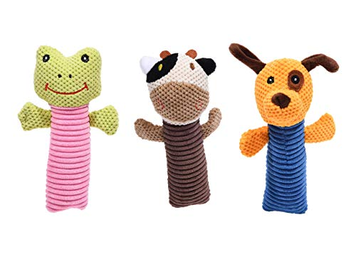 ARCHEL Dog Toys-3-Pack Pet Chew Toy Set for Small & Medium Breed Dogs-Heavy Duty Plush Squeaky Toys for Aggressive Chewers-Big Tough Soft Stuffed Animals for Puppy Training, Teething & Play