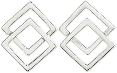 NOVICA .925 Sterling Silver Button Earrings 'Forever Square'