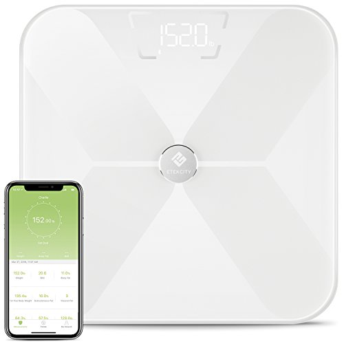 Etekcity Smart Bluetooth Body Fat Scale, Digital Wireless BMI Weight Bathroom Scale with 13 Essential Measurements and ITO Conductive Glass,FDA Approved Body Composition Analyzer with App (White)