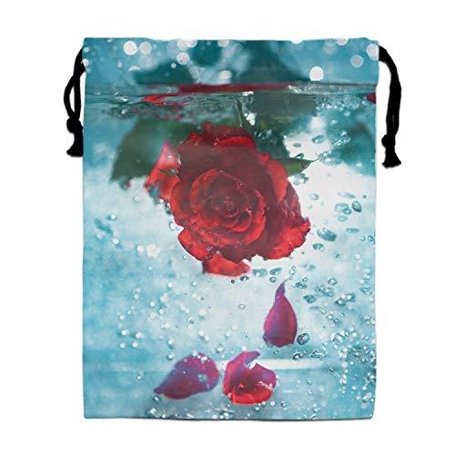 Rose Bubbles Drawstring Shoe Bags for Travel, Multi-color Storage Organizer Pouch for Men Women ()