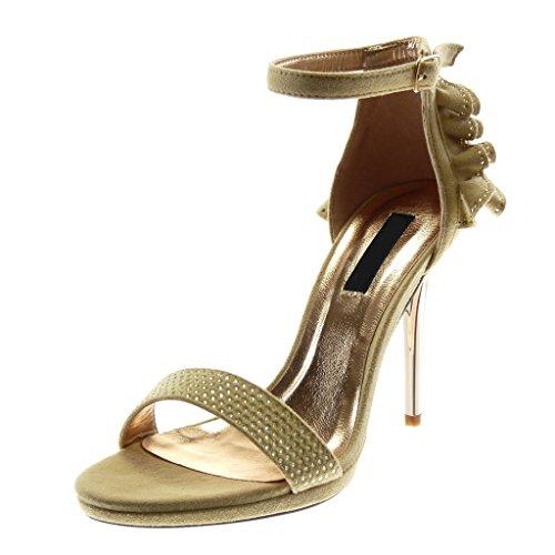 Angkorly Damen Schuhe Sandalen Pumpe - Knöchelriemen - Stiletto - mit  Rüschen - Strass - String e302df5ae0