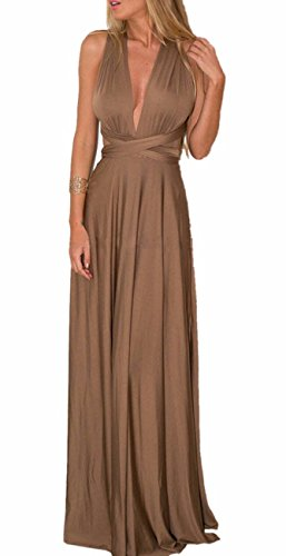 Silk Long Dress Gown (Sexyshine Women's Infinity Backless Gown Dress Multi-way Wrap Halter Cocktail Dress Bandage Bridesmaid Long Dress (BR,M))