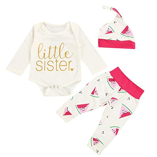 Toddler Baby Girls 3 Pcs Clothes Sets for 0-12 Months, Letters Love Watermelon Printed Tops Pants Headband Outfits (3-6Months, White)