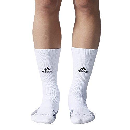 1b224d372 adidas Traxion Menace Basketball/Football Crew Socks (1-Pack),  White/Black/Light Onix/Onix, Medium