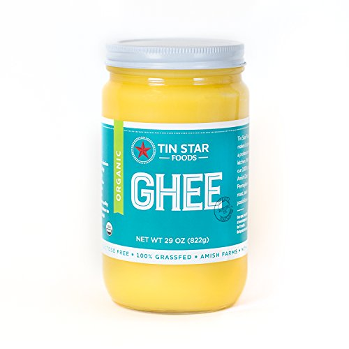 Tin Star Foods 100% Organic Grassfed Ghee - Gluten-Free, Non-GMO, Whole30, Small batches made in USA, 29 oz