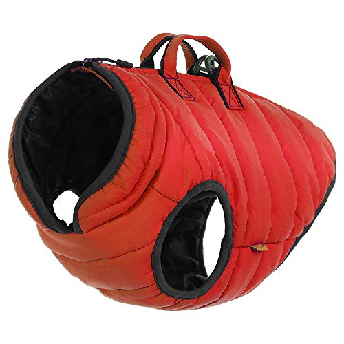 Gooby - Padded Vest Lift, Dog Jacket Coat Sweater Control Handle, Zipper Closure Leash Ring, Red, X-Large - Sweater Dog Vest