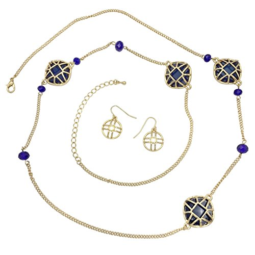 Beaded Gold Tone Jewelry Set (Long Beaded Simple Gold Tone Chain Boutique Style Necklace & Earrings Set (Blue))