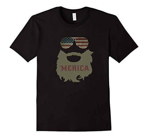 Mens 'Merica Patriotic Beard Sunglasses Flag T-shirt XL - With Glasses Beards