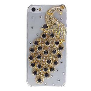 TY-Golden Peacock Magnífico Negro Cristal y Diamante cubierto caja dura transparente para el iPhone 5/5S