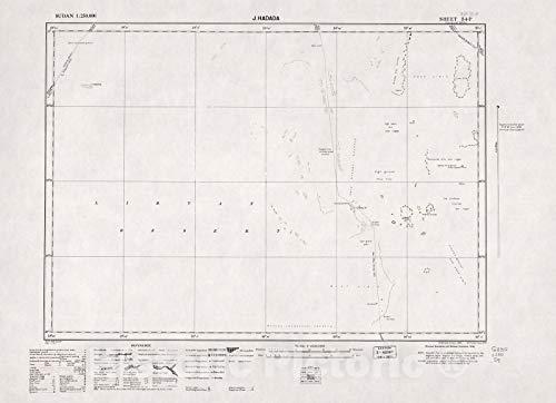 Historic 1909 Map | Sudan 1:250,000 | J. Hadada Sheet 34-P 1976 | Anglo-Egyptian Sudan 44in x 32in